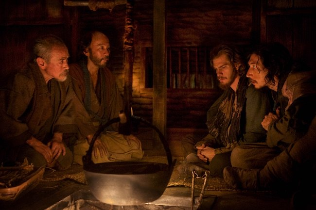 L-R: Yoshi Oida plays Ichizo, Shinya Tsukamoto plays Mokichi, Andrew Garfield plays Father Rodrigues and Adam Driver plays Father Garupe in the film SILENCE